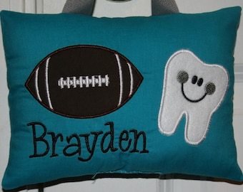 Tooth Fairy Pillow for Boys - Personalized - Football - Tooth Chart - Sports