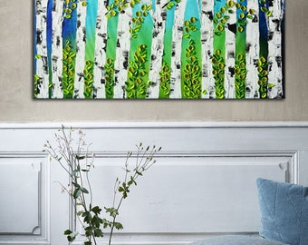 Original blue forest painting, abstract birch forest, Impasto Forest Painting, Aspen painting, green blue painting, large aspen trees art