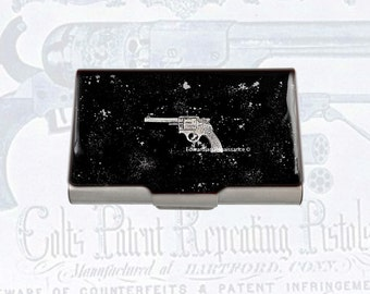 Vintage Pistol Large Business Card Case Inlaid in Hand Painted Silver Enamel Metal Wallet West World Inspired Personalized Options