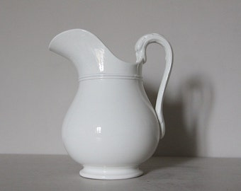 LARGE Antique French White Ironstone Jug with Swan Neck Handle, Nordic Living, Sarreguemines 1875
