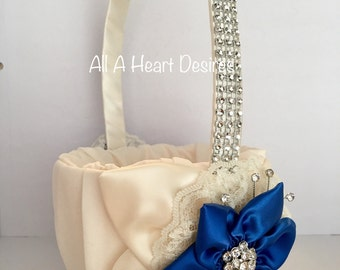 Flower Girl Basket, Bridesmaid Flower Basket, Royal Blue Star Flower, Ivory Leaves and lace, Rhinestone Mesh handle
