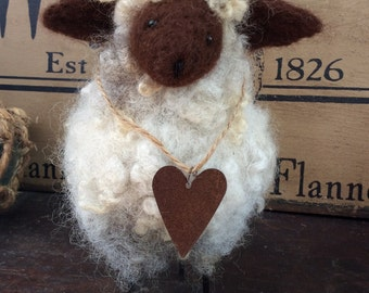 Wooly Sheep Needle Felted with Rustic Heart