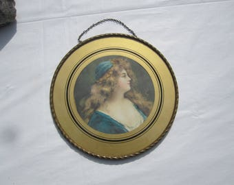 Vintage Lovely Woman in Blue Flue Cover