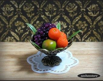 Bowl with fruit, 1:12 dollhouse miniature fruit bowl, dollhouse food