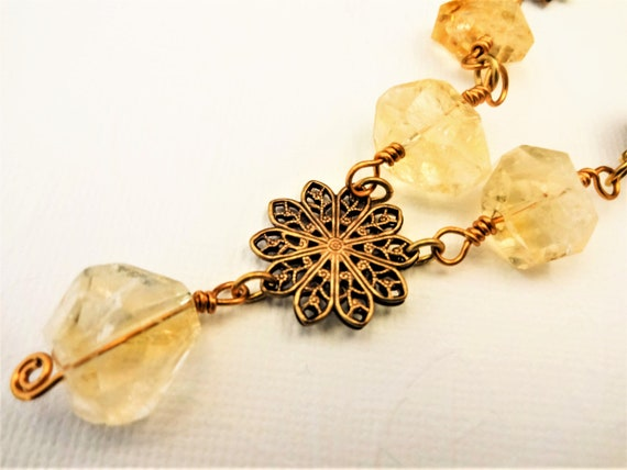 Citrine Nuggets, Antique Gold Filigree and Rhinestone Ball Necklace