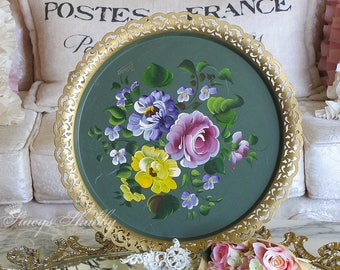 Pretty Vintage ROSES TOLE TRAY, Hand Painted, Cottage Charm, Tole Ware, Tole Painting, Toleware