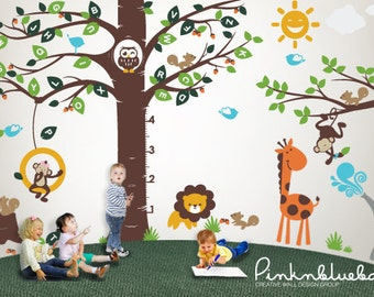 Playroom Wall decal, Playroom Growth Chart Alphabet tree Decal- Wall Décor with Playroom