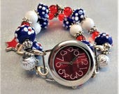 4th of July, Beaded Watch, Red, White, Blue, Interchangeable, Stretchy, Wristband, Lamp Work, Glass Beads