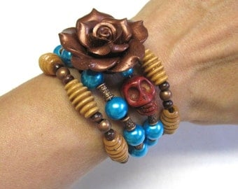 Cooper Brown Day of the Dead Wrap Bracelet Sugar Skull Rose Jewelry