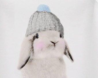 Bunny in hat onesie tshirt, organic cotton, wool hat, baby bunny, gender neutral