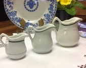 Set of 3 Creamers/Small Pitchers ~ Early Vintage Restaurant Ware ~Victory,Grindley & Carr China ~ NICE