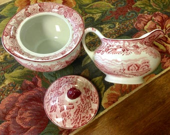 English Scenery ~ Woods' Ware ~ Red Transferware ~ Enoch Woods Creamer and Sugar Bowl~ Vintage ~ Nice