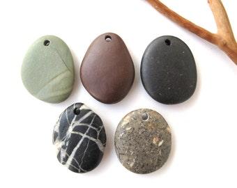 Beach Stone Pendants Mediterranean River Stone Pendants Top Drilled Natural Stones DIY Jewelry Findings Pebble Beads PENDANT MIX 32-34 mm