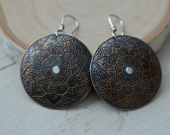 Copper flower earrings, large dangle earrings, mandala jewelry, copper jewelry