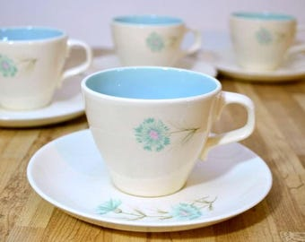 Vintage Chateau Buffet Boutonniere Ever Yours  Taylor Smith and Taylor Coffee Cups Set of Four TST Robin Egg Blue