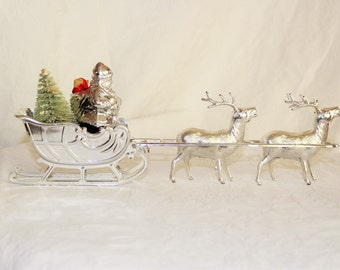 1950s or 60s Santa Claus and reindeer retro Christmas decor / mid century kitsch / with tiny brush bottle tree /  Silva-Glo by Irwin box