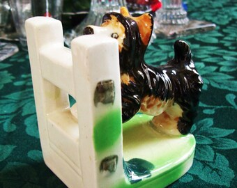 scottie dog bookend, porcelain bookend, scottish terrier, made in Japan