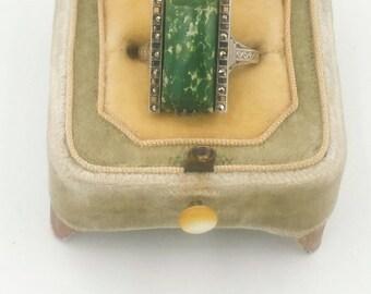 Art Deco Jade Marcasite Ring Green Stone Sz 7 Emerald Cut
