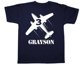 Jet Airplane Birthday Shirt Personalized - any age and name - pick your colors!