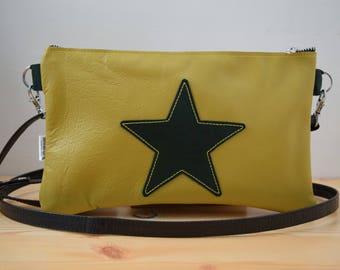 Leather purse bag,star handbag,yellow leather purse,leather green handbag,stars leather,stars purse bag,crossbody bag,steampunk,stars