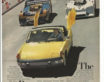 1973 Advertisement Porsche 914 Yellow Race Car Track Pace 70s Auto Sports Convertible 70s Owner Driver Dealership Garage Wall Art Decor