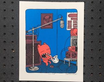 the wind saxophone print, kid's room art, nursery print, saxophone screen print, music print, bear print