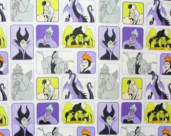 Disney Villains,  Wicked Women, White Background, Cruella Deville, Maleficent, Queen Mother, Ursula Fabric, By the Yard