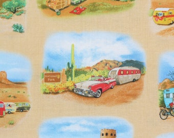 Campers Fabric,Vintage Trailers Fabric, Vintage Cars, Mobile Home, Elizabeths Studio, Retro Style, 1950's Scenes, By the Yard
