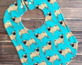 Pug, Baby Pug, Baby Bib, Baby Shower, Pugs, Baby Shower Gift, First Birthday, 1st Birthday Party, Unisex Bibs, Gender Neutral, Puppy, Bibs
