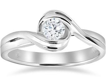 Solitaire Diamond Engagement Ring, 1/2 ct Round Diamond Engagement Ring Solitaire Round Brilliant Cut Twist High Polished Genuine Diamond
