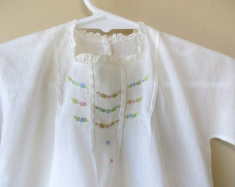 White Batiste Baby Dress Hand Tailored Scallope Ruffles Embroidery Edwardian 486b