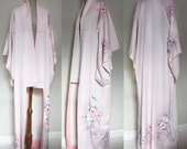 Vintage Women's Silk wedding Kimono Gown. Pastel Pink, Hand Painted Flowers. Tall Fit. One Size