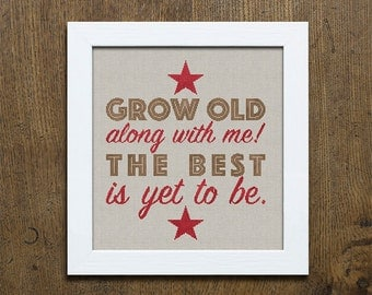 PDF Grow Old With Me Valentine's Day cross stitch patterns by Modern Folk at thecottageneedle.com monochromatic love sweetheart