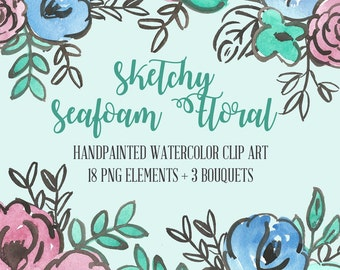 Seafoam Sketchy Floral Abstract Watercolor Floral Clip Art Digital Handpainted Roses Blooms PNG Wedding Invitation Small Commercial Use OK