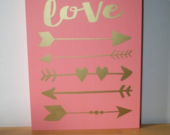 Wood box sign, Love sign, Arrow sign, Tribal sign, Wood tribal sign, Coral and gold, Valentine decor, Holiday sign, Nursery decor, Nursery