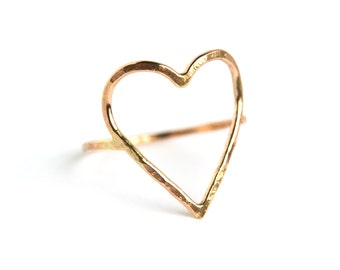 Hammered open heart ring bright or oxidized sterling silver or yellow or rose gold filled ACLU donation charity