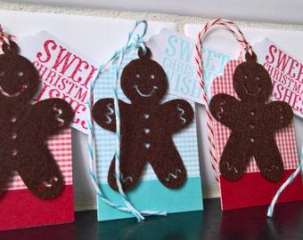 Gingerbread Christmas Gift Tags Set of 5, Holiday Hang Tags, Gingerbread Tags, Christmas Gift Wrap