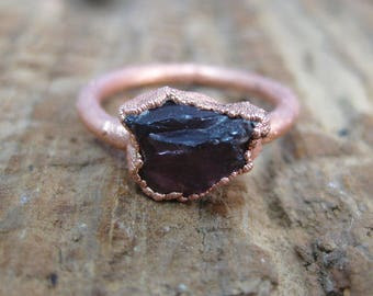 Raw Garnet Crystal Copper Electroformed Ring // Raw Crystal // Metaphysical // Crystal Ring // Raw Copper // Earthy // Organic