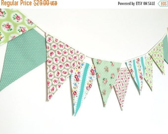 ON SALE Spring Time Bunting, Fabric Banners, Wedding Bunting, Floral, Green Shade - 3 yards