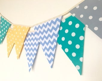 Baby Boy Bunting, Fabric Banners, Garland, Yellow, Gray,Green and Blue Shade - 3 yards (Ready to ship)