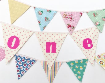 Baby Girl One Year Banner, First Birthday Bunting, Fabric banner (set of 3) - Ready to ship