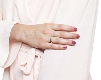 Braided 14K White Gold Wedding Band , Classic Solid White Gold Size 6.5 Braided Band Sizeable Bridal Jewelry