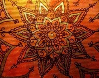 "Handpainted mandala  painting, spiritual art, mandala art, Menhdi flower pattern ornamnet ""passion """