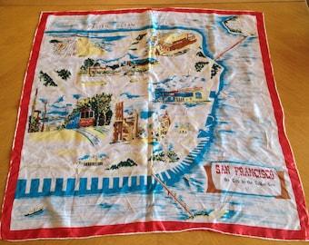 FREE SHIPPING Vintage San Francisco Tourist Souvenir Scarf