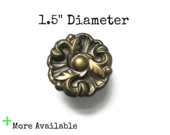 "Vintage French Provincial Drawer Knobs - 1.5"" Diameter Pulls - More available - More colors"
