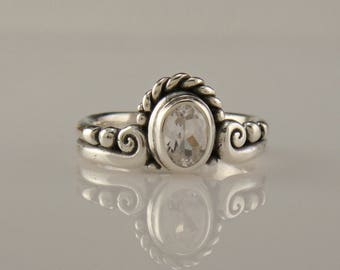 R997- Sterling Silver White Topaz Ring- One of a Kind