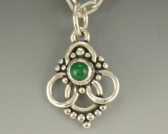 P602- Sterling Silver Emerald Pendant- One of a kind
