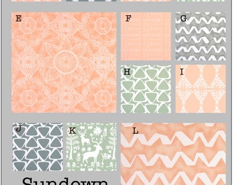 Custom Baby Crib Bedding- Design Your Own Modern Bedding-Dorm Bedding- Glider Cushions- Sundown #two