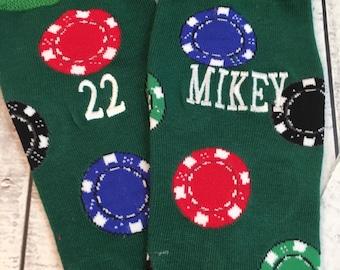 Poker Socks - Gambling Socks - Gambler Gift- mens dress socks - novelty gift - mens gift - mens christmas gift - Poker Chips gift