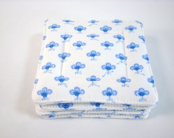 French Country Souleiado Fabric Coasters Set of 4 Provence Fabric Coasters Blue and White Coasters Beverage Coasters